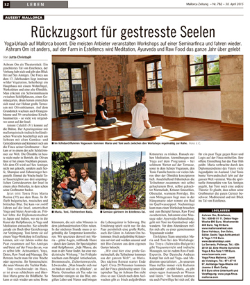 Ashram OM featured in Mallorca Zeitung